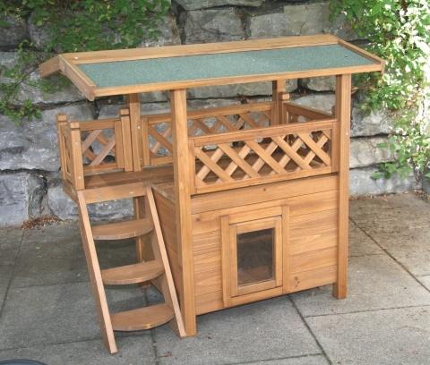 kerbl domek dwupi trowy drewniany lodge dla kota 77 x 50 x 73 cm. Black Bedroom Furniture Sets. Home Design Ideas